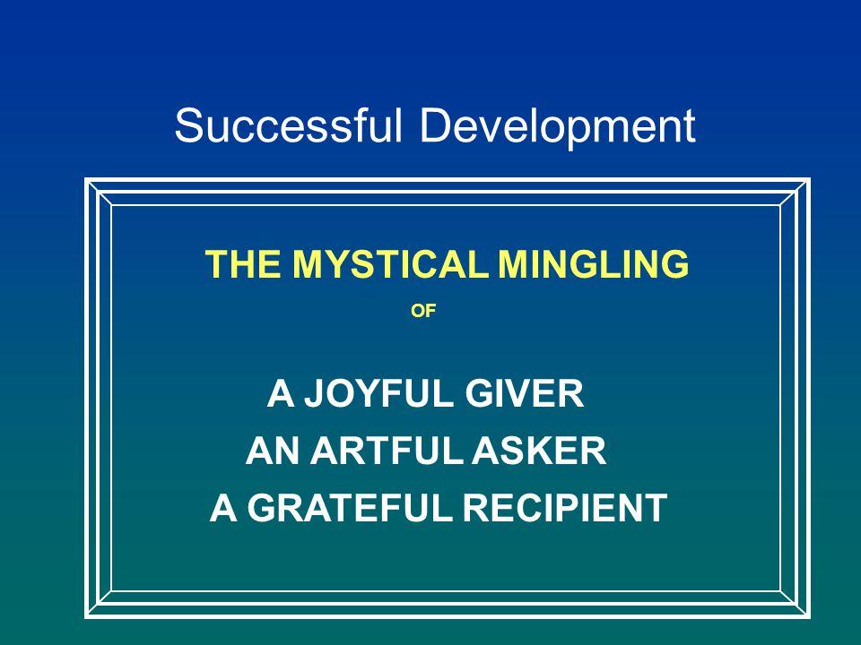Successful Development THE MYSTICAL MINGLING OF A JOYFUL GIVER AN ARTFUL ASKER A GRATEFUL RECIPIENT