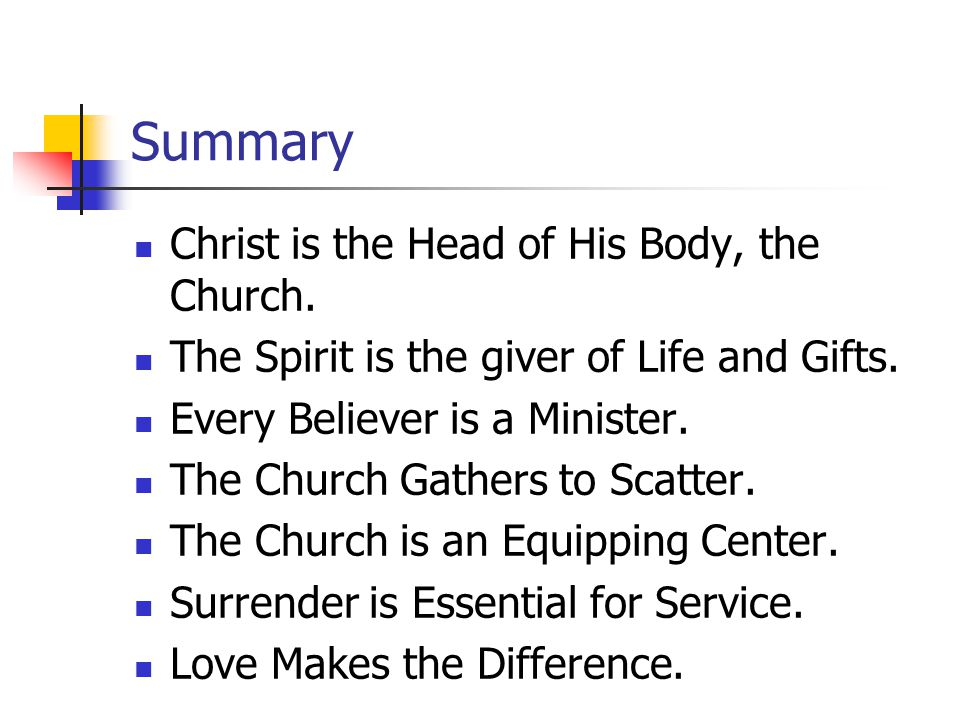 Summary Christ is the Head of His Body, the Church.