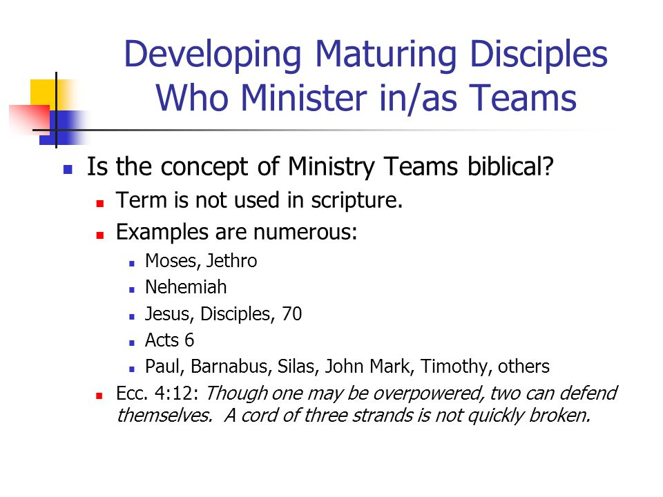 Developing Maturing Disciples Who Minister in/as Teams Is the concept of Ministry Teams biblical.