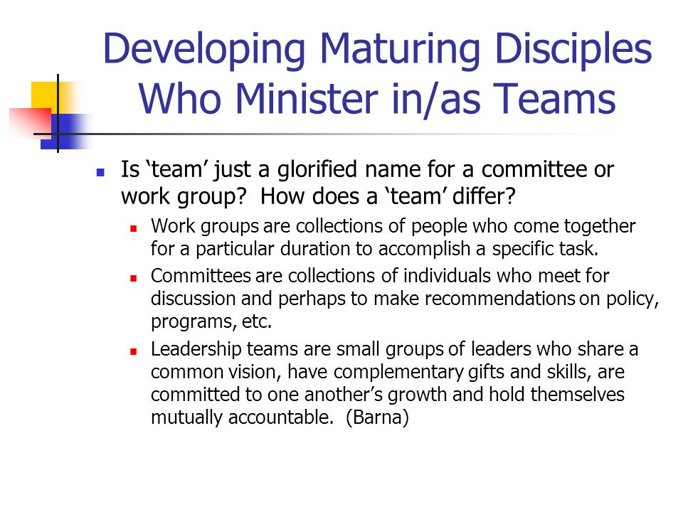 Developing Maturing Disciples Who Minister in/as Teams Is 'team' just a glorified name for a committee or work group.