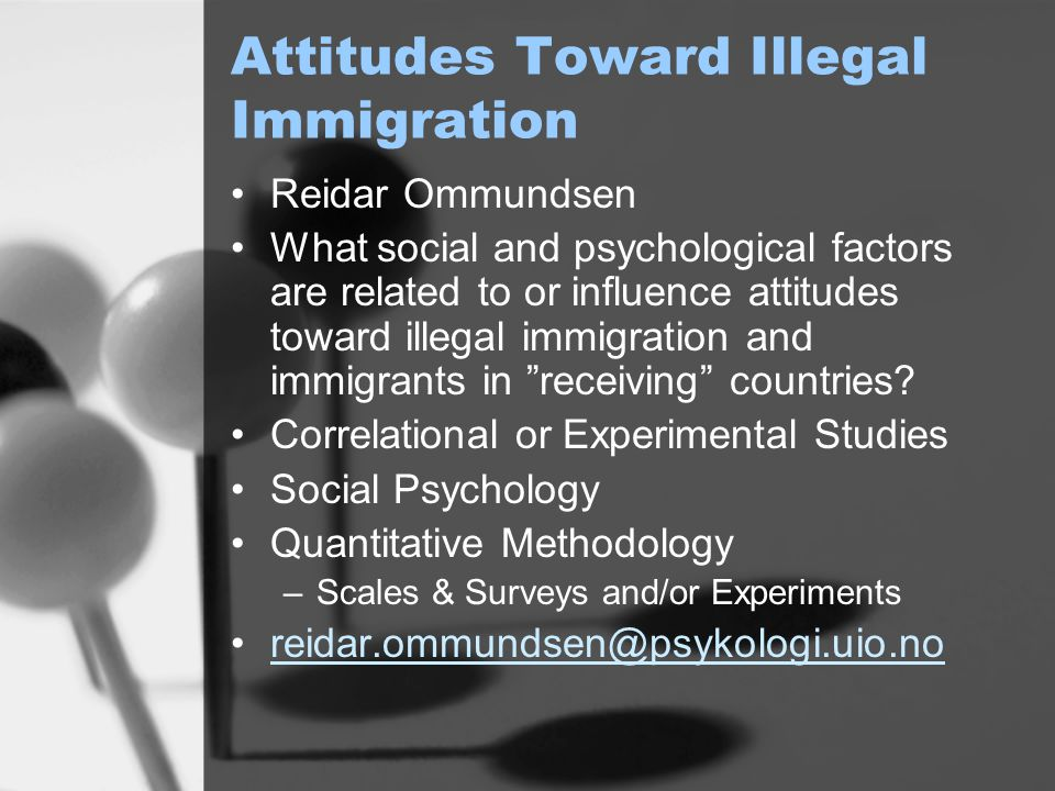 Norwegian Attitudes Toward Integration of Immigrants Reidar Ommundsen and Josh Phelps Scale to Measure Attitudes toward Integration –Mutual Adaptation/Gjensidig tilpasning –Partially influenced by Berry Integration Strategy –Contemporary Issue in Norwegian Politics Quantitative Methodology reidar.ommundsen@psykologi.uio.no joshph@psykologi.uio.no