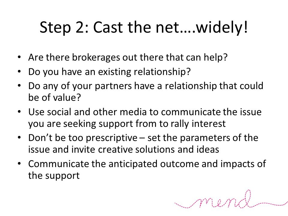 Step 2: Cast the net….widely. Are there brokerages out there that can help.