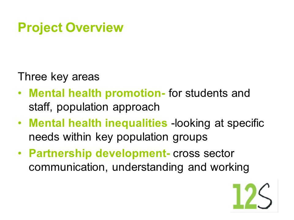 Project Overview Three key areas Mental health promotion- for students and staff, population approach Mental health inequalities -looking at specific