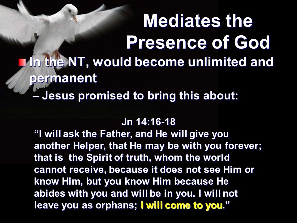 """Mediates the Presence of God In the NT, would become unlimited and permanent –Jesus promised to bring this about: Jn 14:16-18 """"I will ask the Father,"""