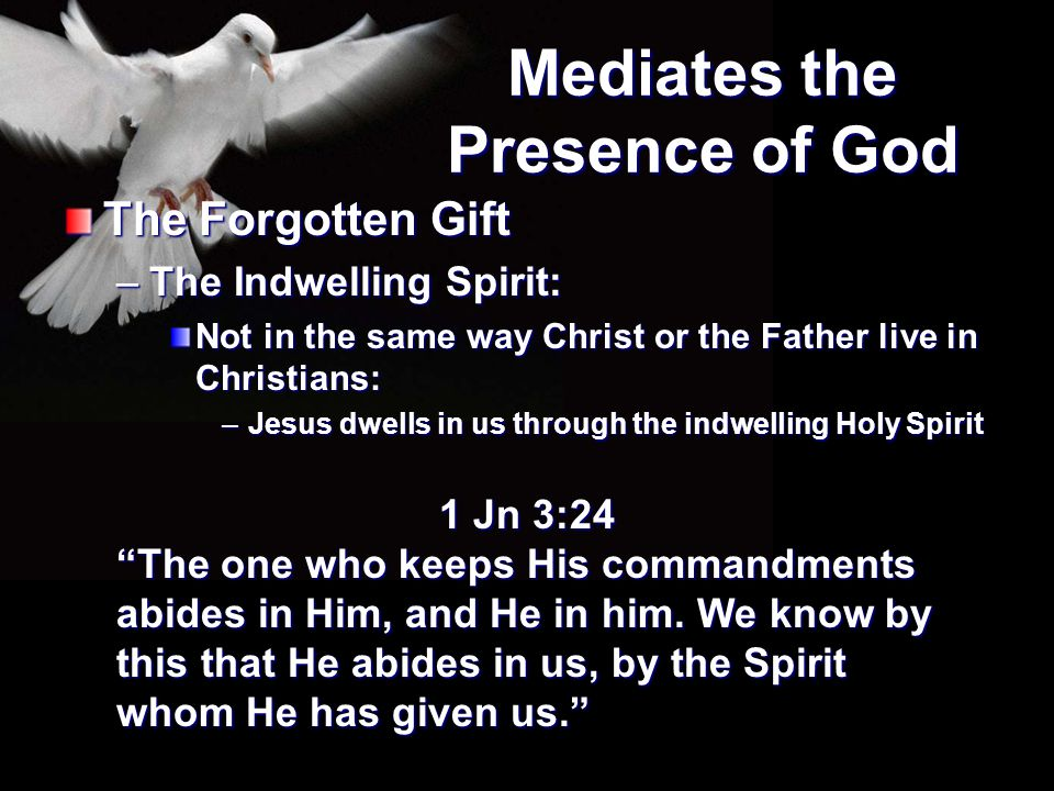 Mediates the Presence of God The Forgotten Gift –The Indwelling Spirit: Not in the same way Christ or the Father live in Christians: –Jesus dwells in