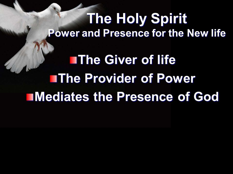 The Giver of life The Provider of Power Mediates the Presence of God The Holy Spirit Power and Presence for the New life