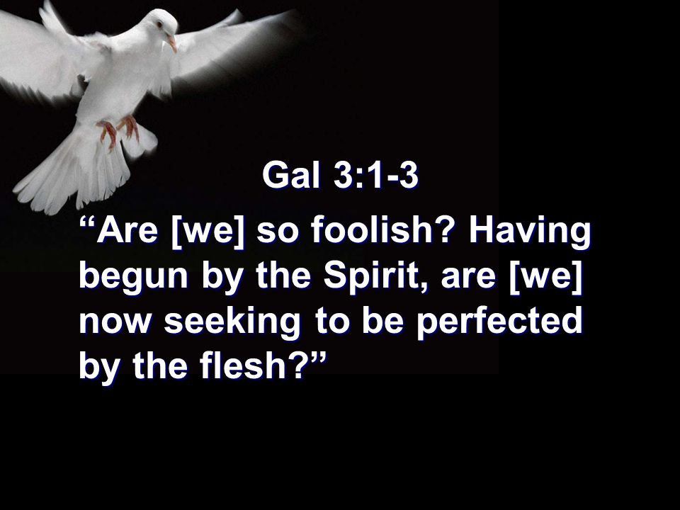 """Gal 3:1-3 """"Are [we] so foolish? Having begun by the Spirit, are [we] now seeking to be perfected by the flesh?"""""""