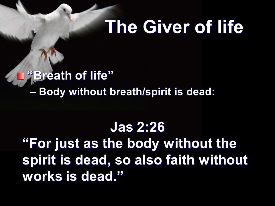"""The Giver of life """"Breath of life"""" –Body without breath/spirit is dead: Jas 2:26 """"For just as the body without the spirit is dead, so also faith witho"""
