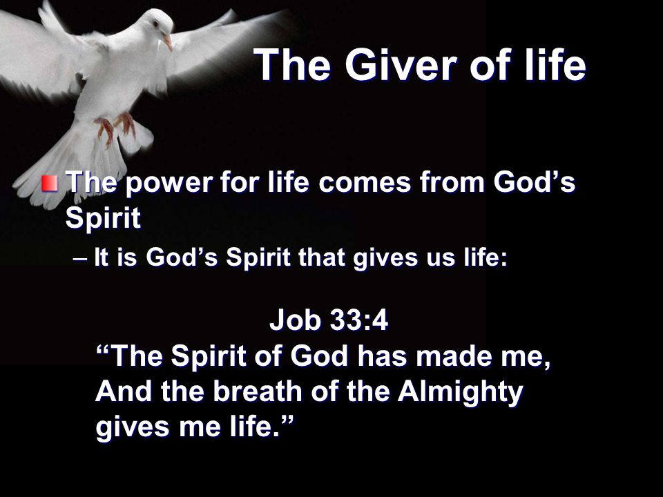 """The Giver of life The power for life comes from God's Spirit –It is God's Spirit that gives us life: Job 33:4 """"The Spirit of God has made me, And the"""