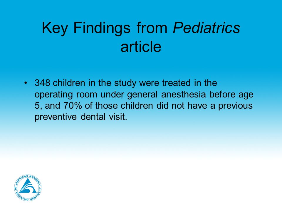 Key Findings from Pediatrics article 348 children in the study were treated in the operating room under general anesthesia before age 5, and 70% of those children did not have a previous preventive dental visit.