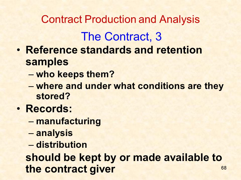 68 Contract Production and Analysis The Contract, 3 Reference standards and retention samples –who keeps them? –where and under what conditions are th