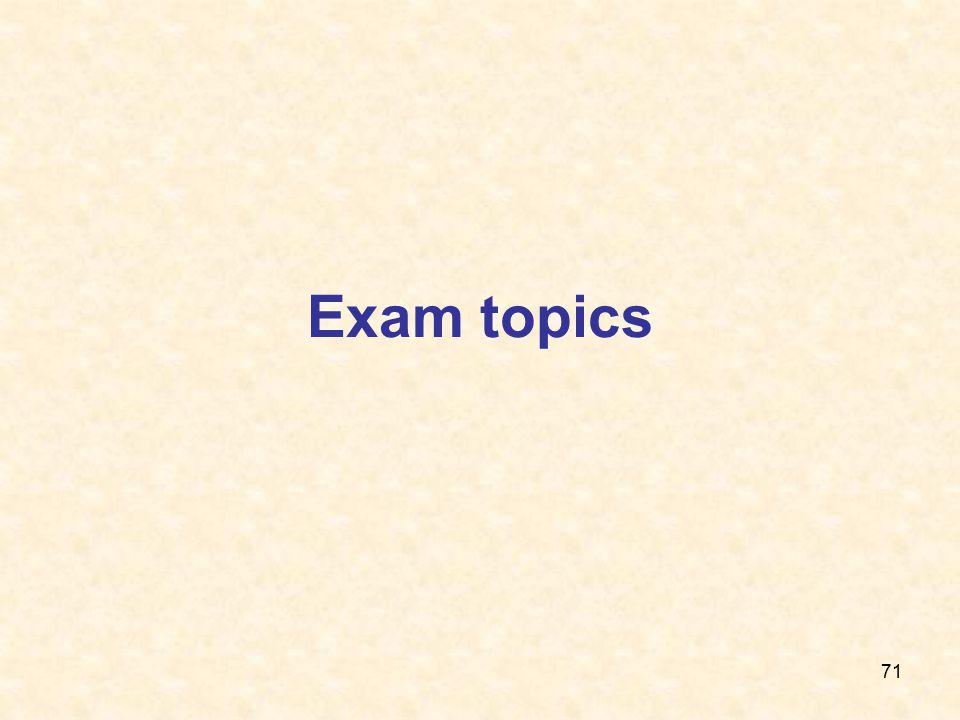 71 Exam topics