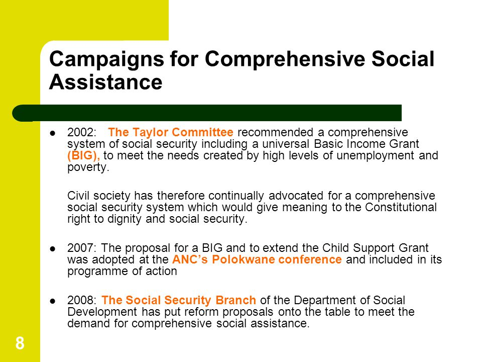 8 Campaigns for Comprehensive Social Assistance 2002: The Taylor Committee recommended a comprehensive system of social security including a universal Basic Income Grant (BIG), to meet the needs created by high levels of unemployment and poverty.