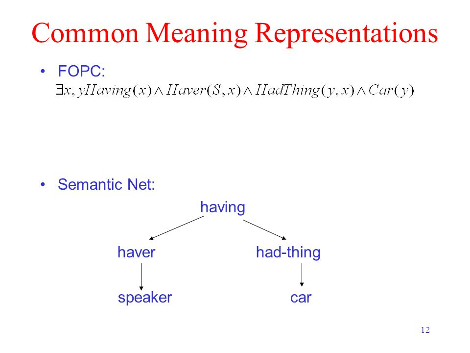 12 Common Meaning Representations FOPC: Semantic Net: having haver had-thing speaker car