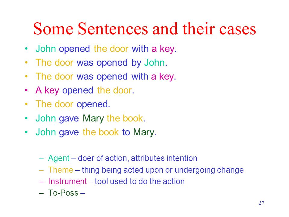 27 Some Sentences and their cases John opened the door with a key.
