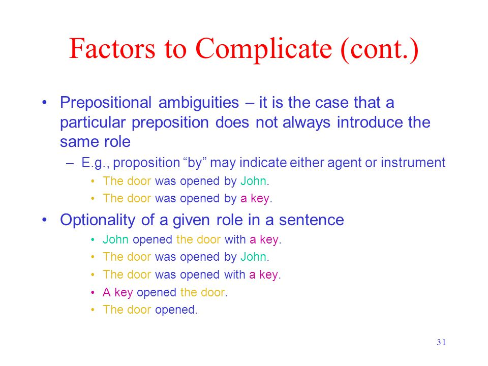 31 Factors to Complicate (cont.) Prepositional ambiguities – it is the case that a particular preposition does not always introduce the same role –E.g., proposition by may indicate either agent or instrument The door was opened by John.