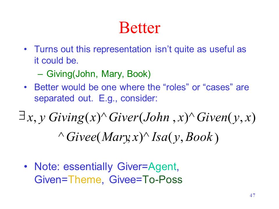 47 Better Book ),()^,(^ ),(,( (, yIsaxMaryGivee xyGivenxJohnGiverxGivingyx  Turns out this representation isn't quite as useful as it could be.
