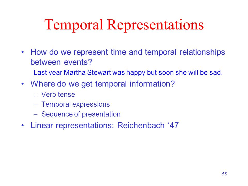 55 Temporal Representations How do we represent time and temporal relationships between events.