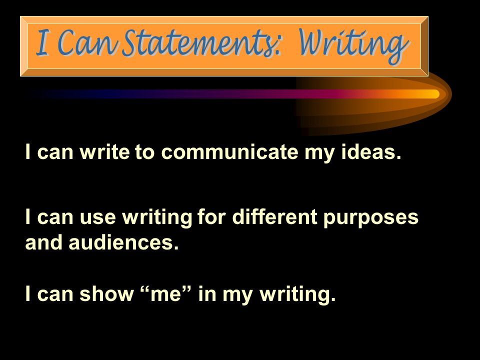 I can write to communicate my ideas. I can use writing for different purposes and audiences.