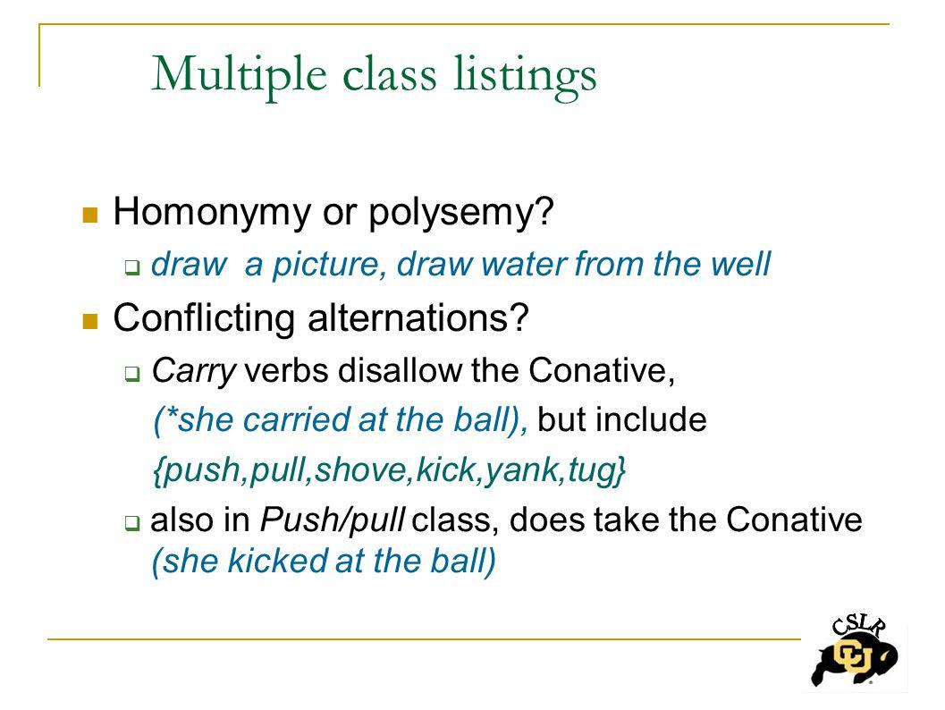 Multiple class listings Homonymy or polysemy.