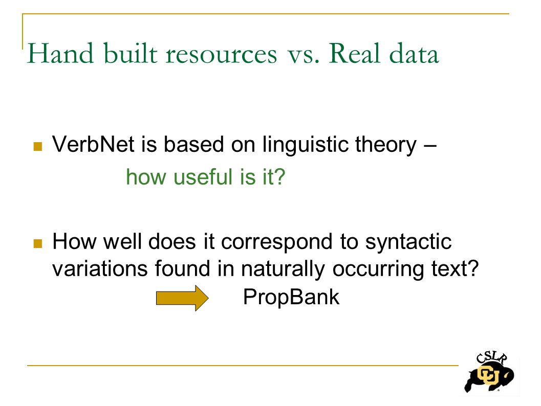 Hand built resources vs. Real data VerbNet is based on linguistic theory – how useful is it.