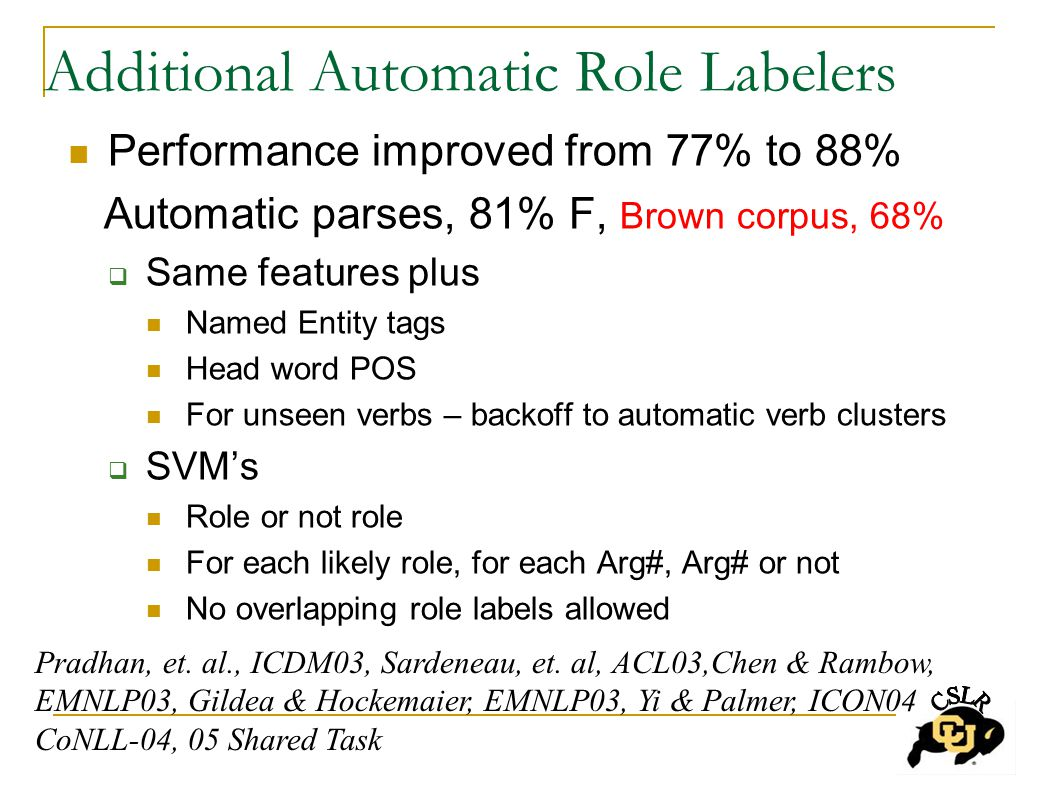 Additional Automatic Role Labelers Performance improved from 77% to 88% Automatic parses, 81% F, Brown corpus, 68%  Same features plus Named Entity tags Head word POS For unseen verbs – backoff to automatic verb clusters  SVM's Role or not role For each likely role, for each Arg#, Arg# or not No overlapping role labels allowed Pradhan, et.
