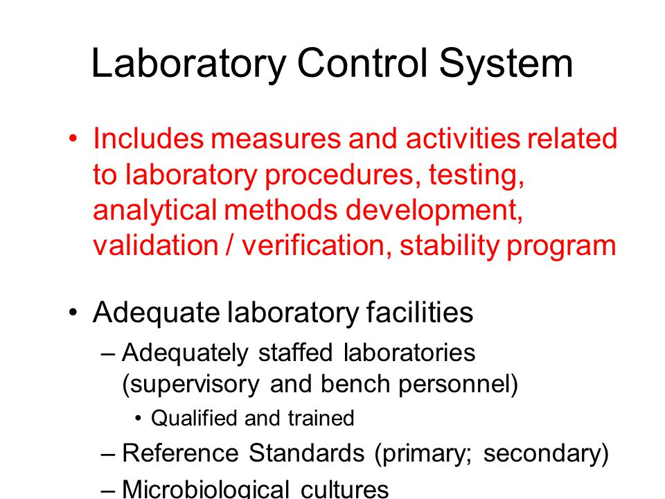 QUALITY CONTROL SYSTEM To examine returned products as to whether such products should be released, reprocessed or destroyed.