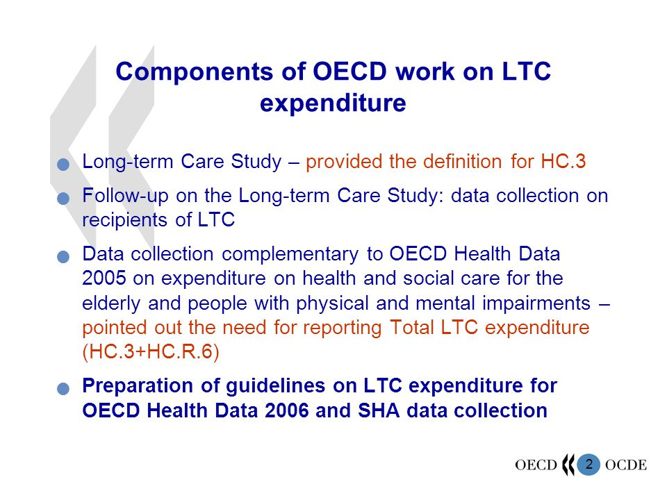 3 Requirements for LTC expenditure data Availability of data Reliability of data Timeliness Comprehensiveness of estimating total spending Consistency of hierarchy of sub-aggregates Comparability across countries and over time Transparency (estimation methods and deviations) Policy-relevant indicators