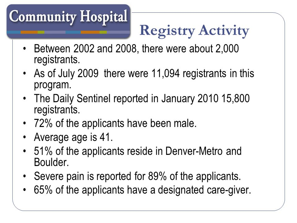 Registry Activity Prior to a court ruling in late 2007, each caregiver was limited to a maximum of 5 patients.