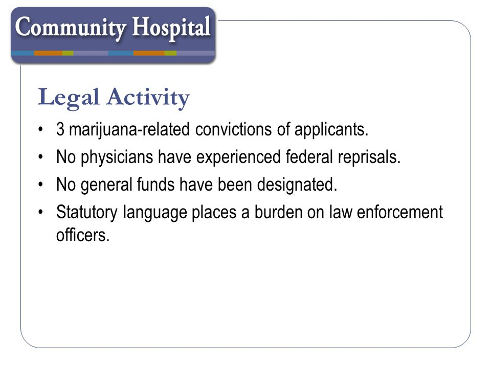 Federal Law The use, possession, distribution and manufacture of marijuana remains a federal crime in Colorado, and possession of a registration card provides no protection against federal criminal prosecution.