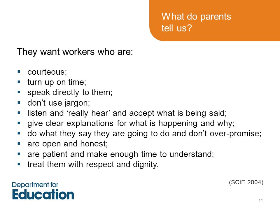 What do parents tell us.