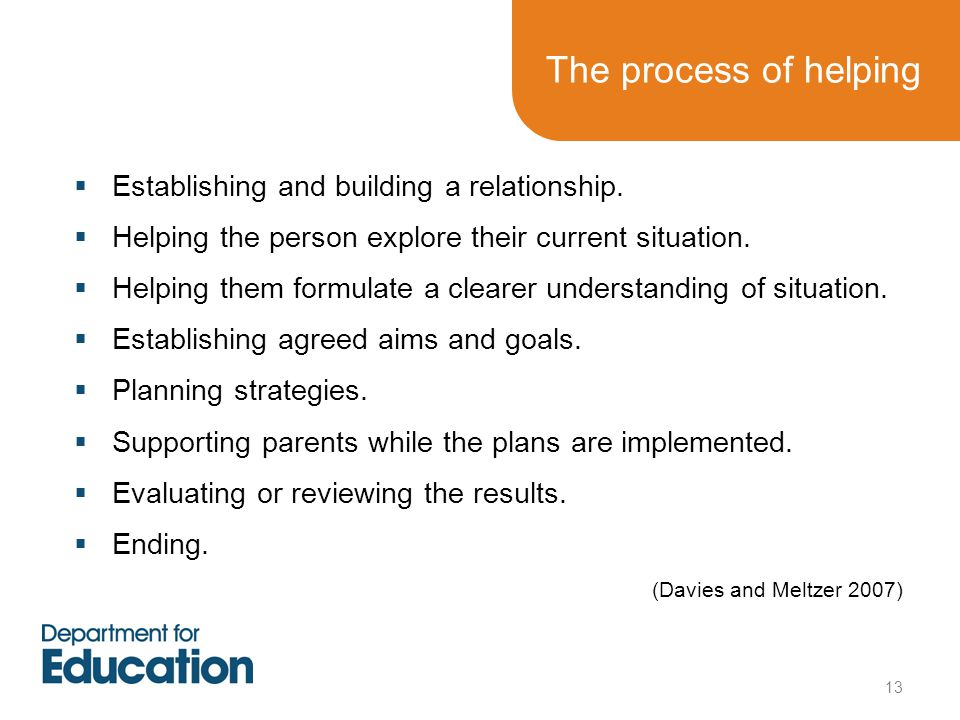 The process of helping  Establishing and building a relationship.
