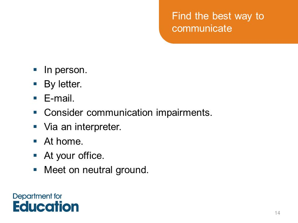 Find the best way to communicate  In person. By letter.