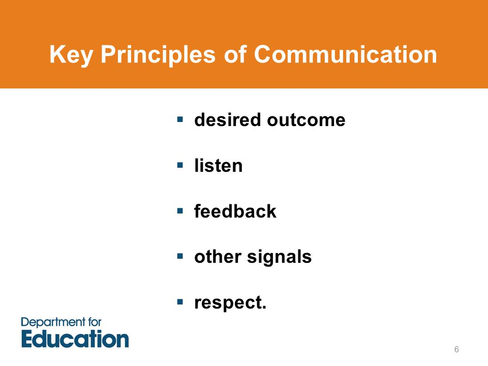 Key Principles of Communication  desired outcome  listen  feedback  other signals  respect. 6