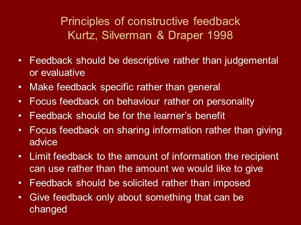 Principles of constructive feedback Kurtz, Silverman & Draper 1998 Feedback should be descriptive rather than judgemental or evaluative Make feedback
