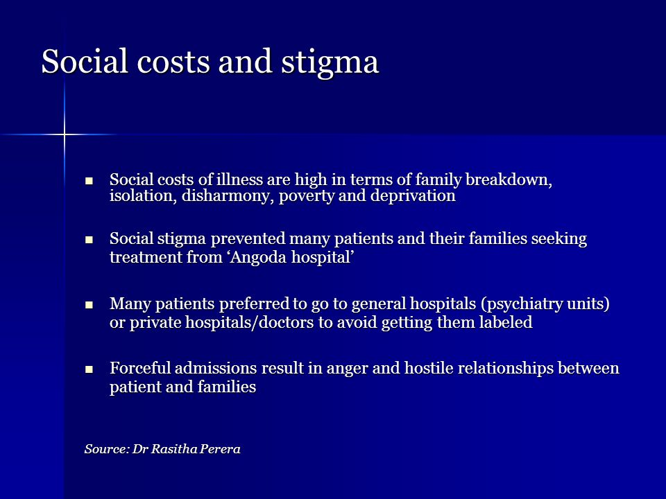 Social costs and stigma Social costs of illness are high in terms of family breakdown, isolation, disharmony, poverty and deprivation Social costs of illness are high in terms of family breakdown, isolation, disharmony, poverty and deprivation Social stigma prevented many patients and their families seeking treatment from 'Angoda hospital' Social stigma prevented many patients and their families seeking treatment from 'Angoda hospital' Many patients preferred to go to general hospitals (psychiatry units) or private hospitals/doctors to avoid getting them labeled Many patients preferred to go to general hospitals (psychiatry units) or private hospitals/doctors to avoid getting them labeled Forceful admissions result in anger and hostile relationships between patient and families Forceful admissions result in anger and hostile relationships between patient and families Source: Dr Rasitha Perera