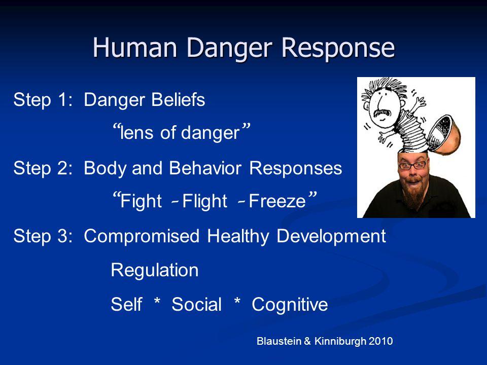 "Human Danger Response Step 1: Danger Beliefs "" lens of danger "" Step 2: Body and Behavior Responses "" Fight – Flight – Freeze "" Step 3: Compromised He"
