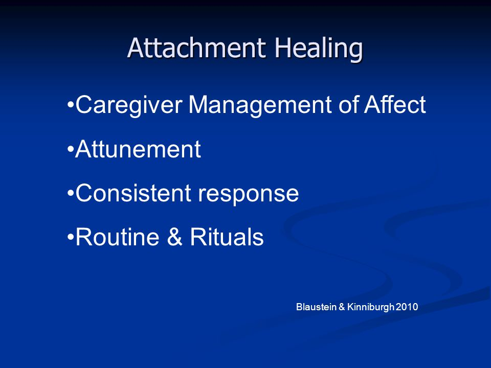 Attachment Healing Caregiver Management of Affect Attunement Consistent response Routine & Rituals Blaustein & Kinniburgh 2010