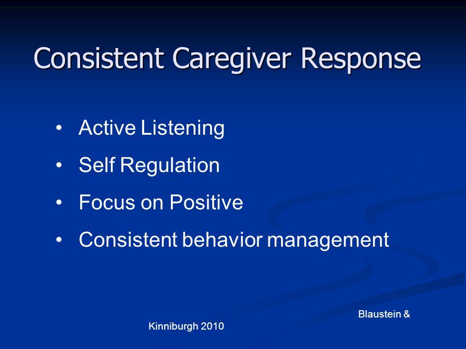 Consistent Caregiver Response Active Listening Self Regulation Focus on Positive Consistent behavior management Blaustein & Kinniburgh 2010