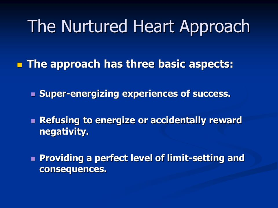 The Nurtured Heart Approach The approach has three basic aspects: The approach has three basic aspects: Super-energizing experiences of success. Super