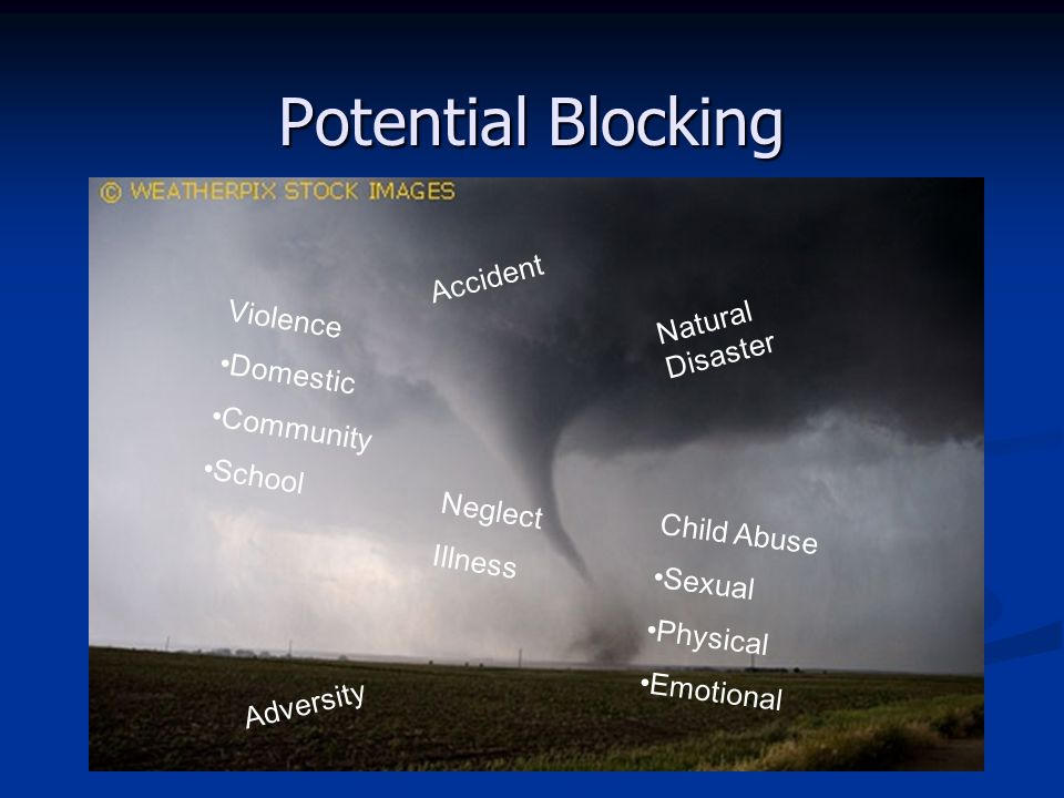 Potential Blocking Child Abuse Sexual Physical Emotional Accident Neglect Illness Adversity Violence Domestic Community School Natural Disaster