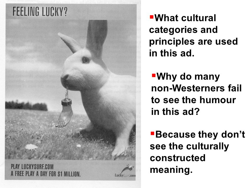  What cultural categories and principles are used in this ad.