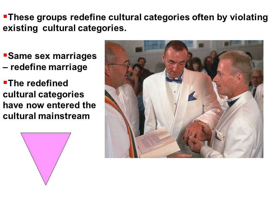  Same sex marriages – redefine marriage  The redefined cultural categories have now entered the cultural mainstream  These groups redefine cultural categories often by violating existing cultural categories.