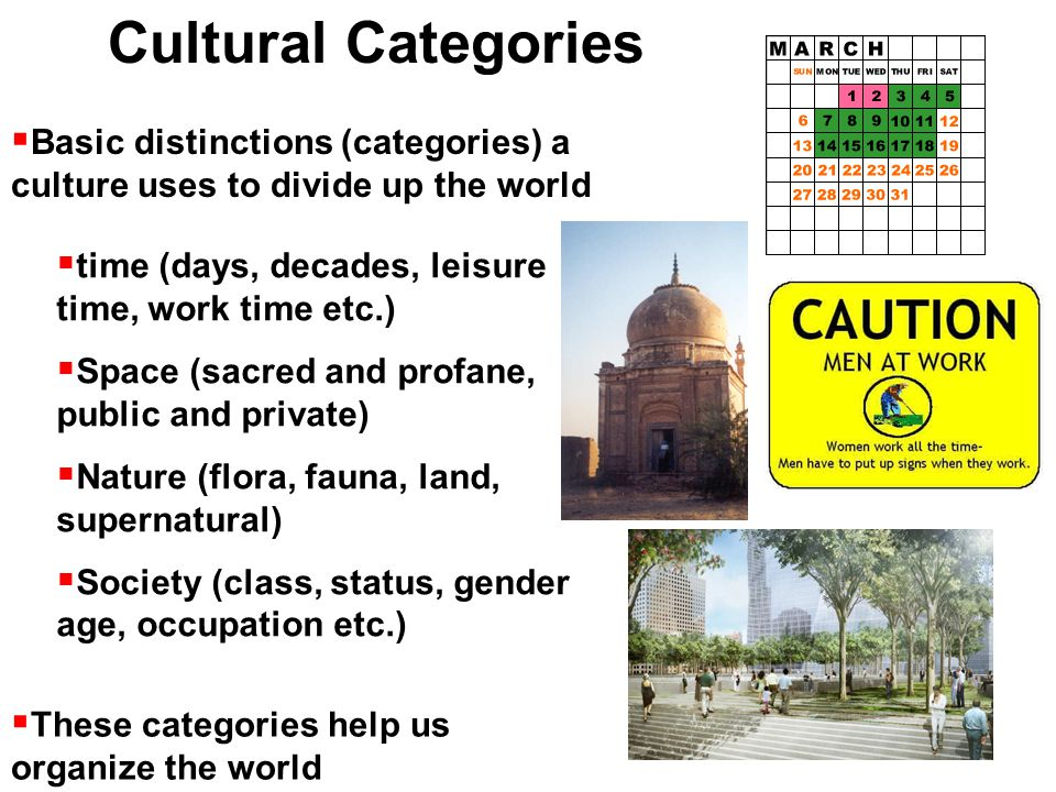 Cultural Categories  Basic distinctions (categories) a culture uses to divide up the world  time (days, decades, leisure time, work time etc.)  Space (sacred and profane, public and private)  Nature (flora, fauna, land, supernatural)  Society (class, status, gender age, occupation etc.)  These categories help us organize the world
