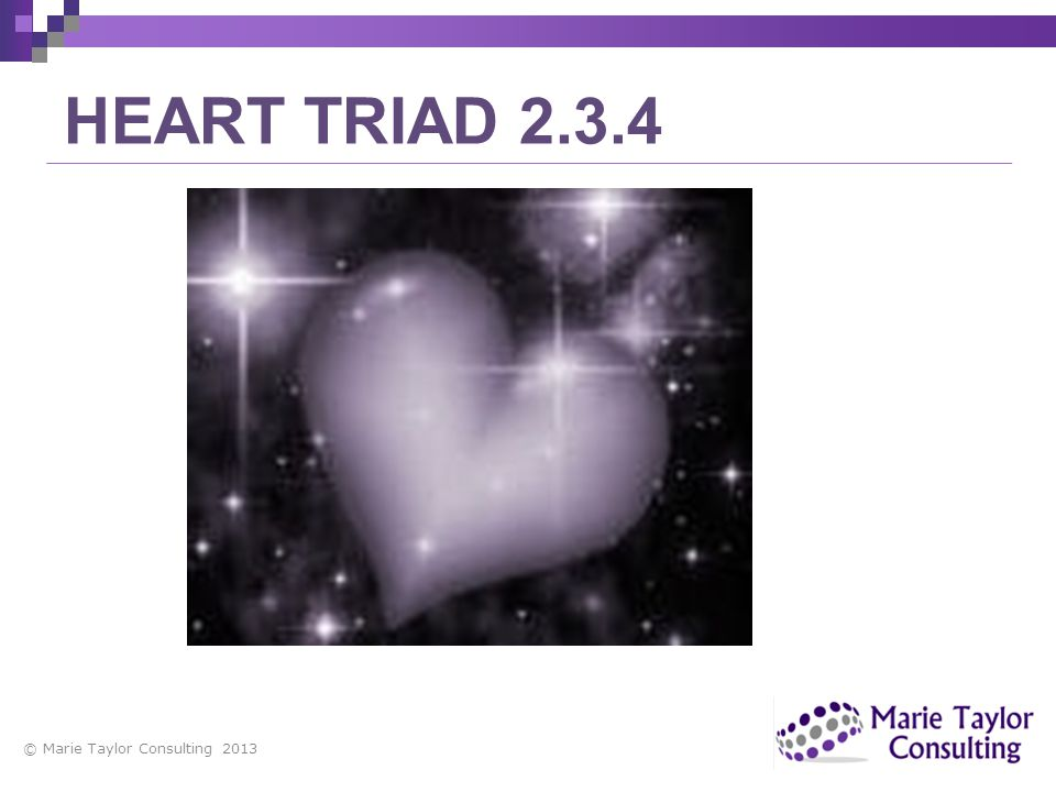 © Marie Taylor Consulting 2013 HEART TRIAD 2.3.4