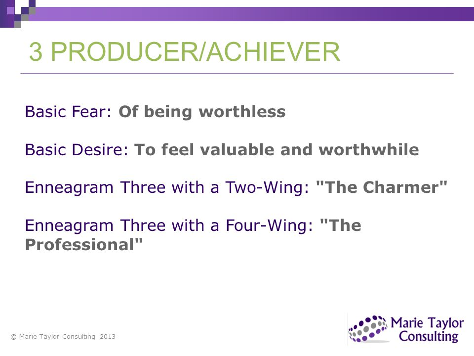 Basic Fear: Of being worthless Basic Desire: To feel valuable and worthwhile Enneagram Three with a Two-Wing: