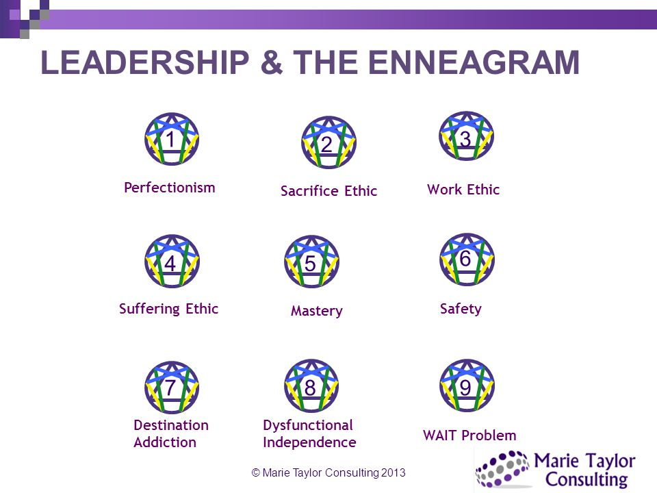 LEADERSHIP & THE ENNEAGRAM Perfectionism Sacrifice Ethic Work Ethic Suffering Ethic Mastery Safety Destination Addiction Dysfunctional Independence WA
