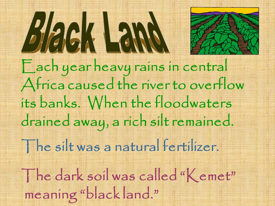 Each year heavy rains in central Africa caused the river to overflow its banks. When the floodwaters drained away, a rich silt remained. The silt was