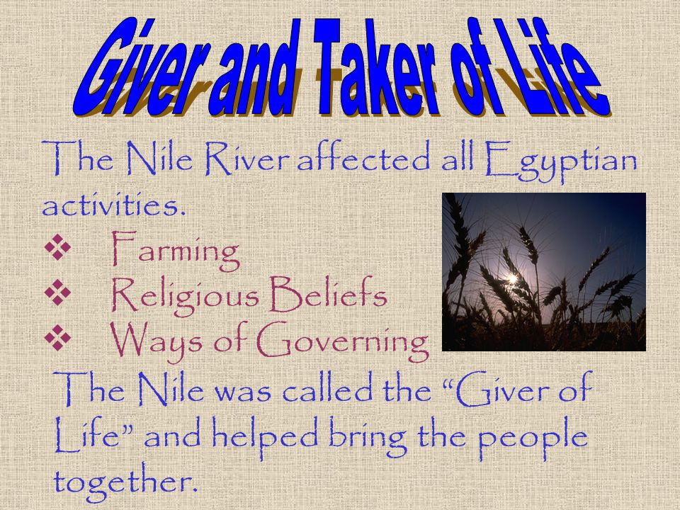 The Nile River affected all Egyptian activities.