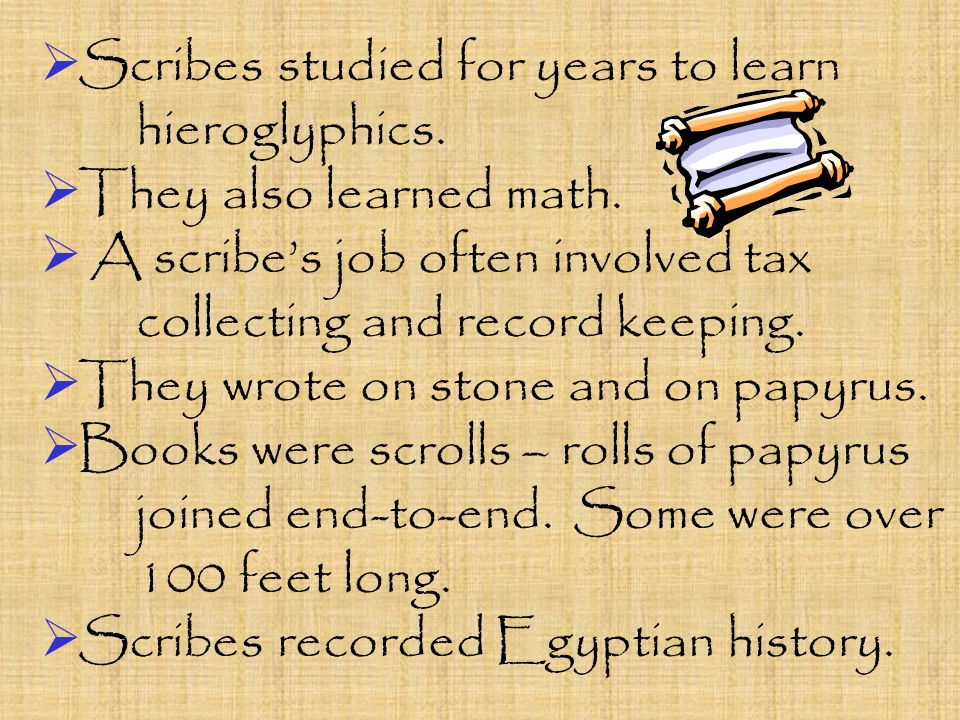  Scribes studied for years to learn hieroglyphics.